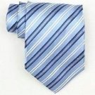 Silk Lt.Blue/Navy/White/Metallic Silver Woven Necktie
