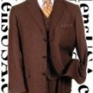 Nicest Brown Ton On Ton Shadow Pinstripe Vested 3 Buttons Mens Suits