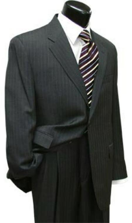 Men'S Pinstripe Two 2 Button Super Wool Suit