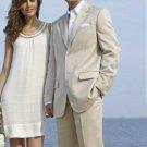 Light Weight Light Tan Khaki (Sand) Suit Cotton&Rayon&Linen 2 Button