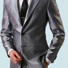 Shiny Sharkskin Silver Gray 2 Button Style Jacket Flat Front Pants New Style 189