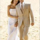 Amazing Linen Feel Rayon/Spandex Tan 2 Button Wedding Suit