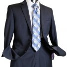 Mens Navy Tone On Tone 100% Wool Suit Navy