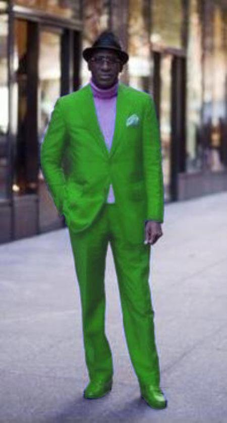 Classic Ultra Smooth 2 Button Suit Lime Green
