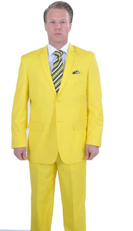 Bright Colored 2 Piece Suit - Yellow