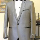 Grey 1 Button Peak Lapel Tuxedo Jacket