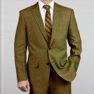 Elegant, Natural & Light Weight 2-Btn Notch Lapel Real Linen Suit Spring/Summer Olive