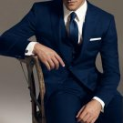 Reg:795 Two Button Vested 3Pc Wool Suit Peak Pointed English Style Lapel Navy