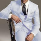 2 Button Vested 3Pc Wool Suit Peak Pointed English Style Lapel White