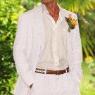 Men'S 100% Linen Suit In White