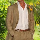 Men'S 100% Linen Suit In Khaki