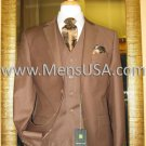 2 Button 3 Piece Mocca Fitted Suit Copper~Rust~Cognac