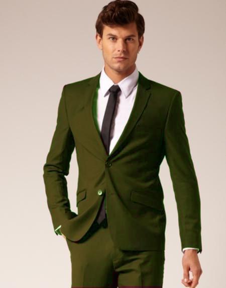 Mens 2 Button Style Wool & Cotton Suit Flat Front Pants Olive