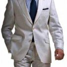Light Weight 2 Button Tapered Cut Half Lined Flat Front Linen Suit Vented Silver