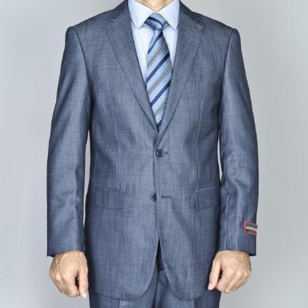 Men'S Denim Blue 2-Button Side Vented Jacket & Flat Front Pants Suit