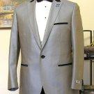 Grey 1 Button Peak Lapel Tuxedo Jacket