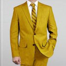Elegant, Natural & Light Weight 2-Btn Notch Lapel Real Linen Suit Spring/Summer Gold