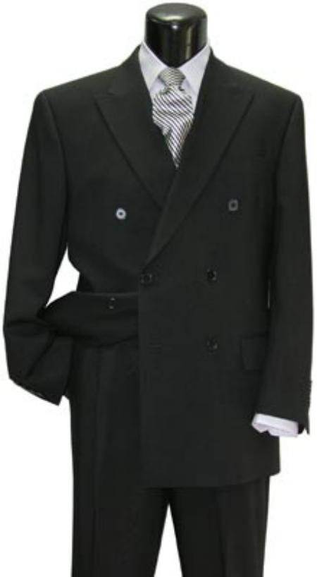 Brand New Solid Black Double Breasted Suit