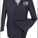 High Quality Navy Blue & Chalk White Pinstripe Double Breaste 100% Wool