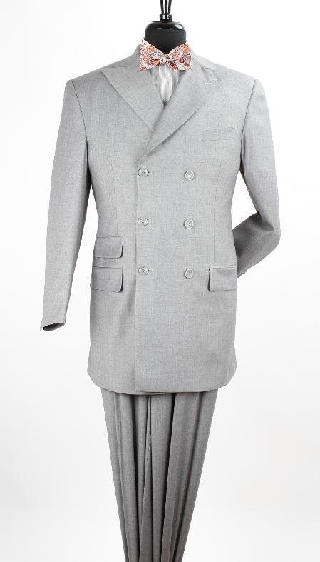 Men'S 3 Piece Double Breasted Discount Suit - Luxurious Wool Feel Light Grey