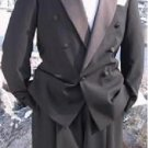 Signature Platinum Stays Cool Tailored Black Double Breasted Tuxedo Jacket+Pants+Shirt+Long Tie