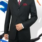 Men'S 3 Button Style Jet Black Pinstripe Light Weight On Sale