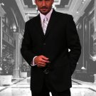 Gianni Black 3 Button Super 120'S Wool Suit