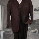 Ts-33 Signature Platinum Stays Cool Tailored Brown Extra Fine Super 150'S Suit Tone Ontone Stripe