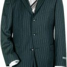 Navy Blue Pinstripe 3 Button Super 140'S Wool Men'S Suit