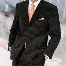 Dress To Impress Black & Gorgeous Pinstripe 3 Buttons Pinstripe Ultimate Wool & Tailoring