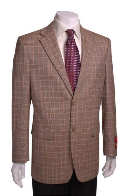 2-Button Black/Gold Wool Plaid Blazer
