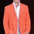 Mens Cotton/Rayon 2 Button Sport Coat Notch Lapel Side Vents Orange