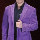 Mens Cotton/Rayon 2 Button Purple Sport Coat Notch Lapel Side Vents