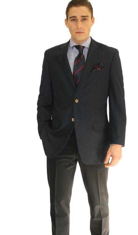 Men'S 2 Button Navy Sport Jacket Blazer