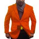 Mens 2 Btn Notch Collar Single-Breasted Fully Lined Velvet ~ Velour Blazer Orange