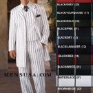 Stunning Gangster Style 3 Piece White Fashion Zoot Suit W/Bold Black Pinstripes