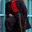 Men'S Black And Red Pinstripe Fashion Zoot Suit
