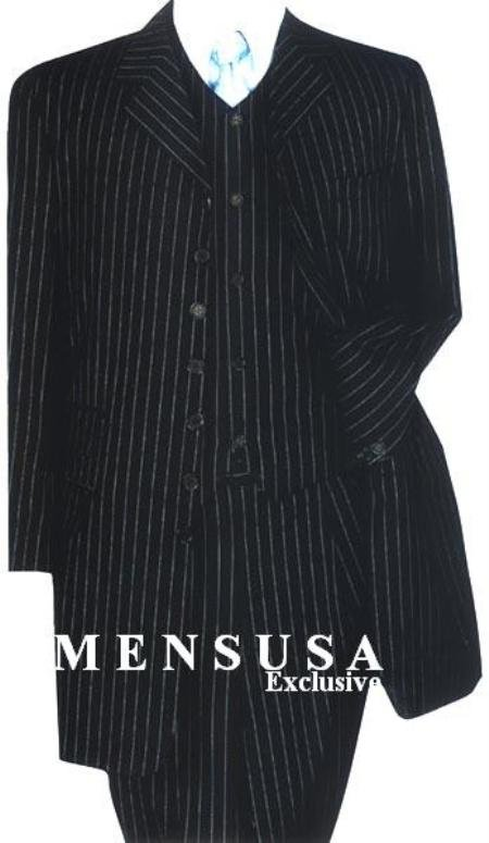 Black & Small Pinstripe (Not Bold) 3 Pieces Long Fashion Suits
