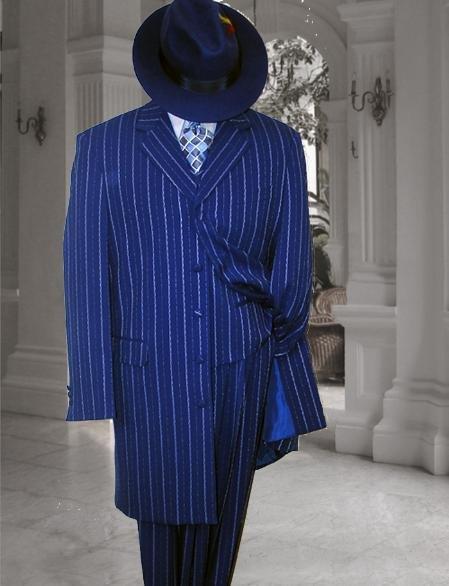 Men'S Vested Royal Blue & Bold Pronounce White Pinstripe Fashion Zoot Suit