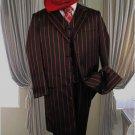 Black W/Red Pinstripe & Bold Pronounce 3Pc Fashion Zoot Suit