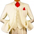 7 Button High Vest Color Solid Ivory~Cream Off White 38 Inch Long Jacket Fashion Long Suit