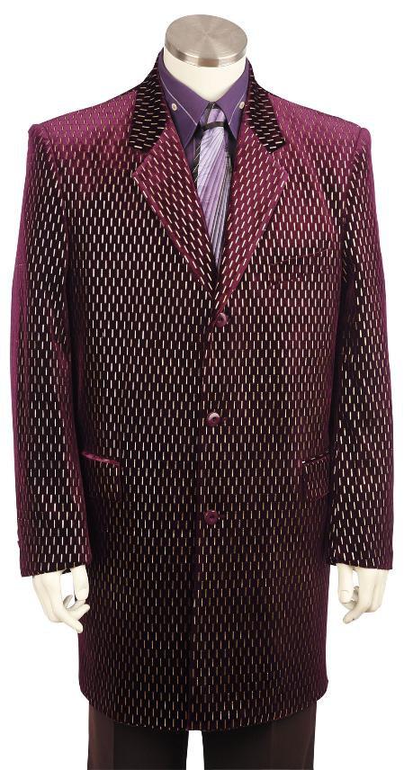 Mens Stylish Velvet Suit Raisin