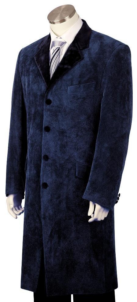 Mens Fashion Velvet Suit Navy