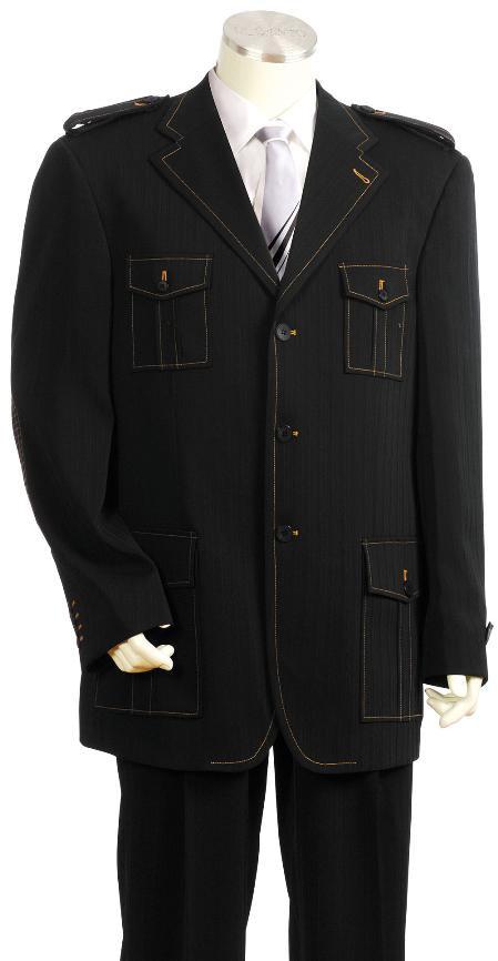 Men'S Exclusive 3 Button Black Safari Military Style Zoot Suit