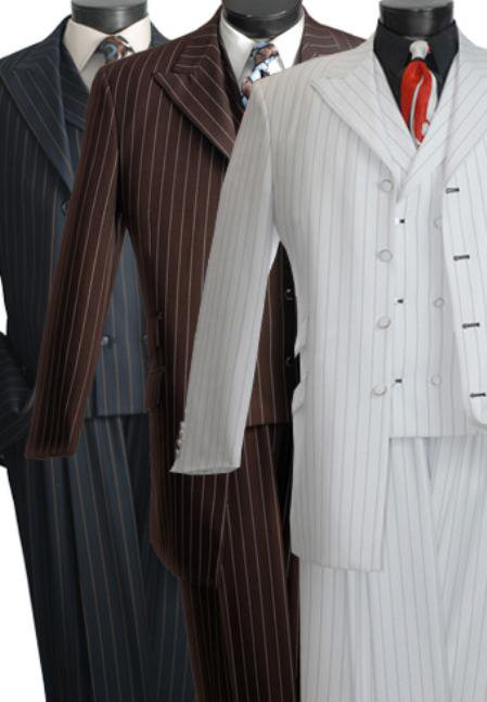 Bold Stripe Three Piece Suit Black, White, Brown