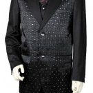 Men'S 3 Piece Designer Fashion Trimmed Two Tone Blazer/Suit/Tuxedo - Fancy Diamond Pattern Black