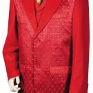 Men'S 3 Piece Designer Fashion Trimmed Two Tone Blazer/Suit/Tuxedo - Fancy Diamond Pattern Red