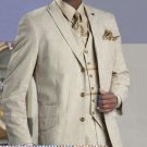 Mens Stylish 3 Button Tan Seersucker Suit