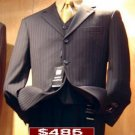 485 Black Ton On Ton Pinstripe Vested 3 Buttons Mens Suits Son Sale