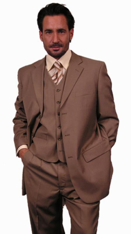 Super 110'S Extra Fine Premier Quality Italian Fabric Wool Feel Poly~Rayon 3Pc Vested Suit